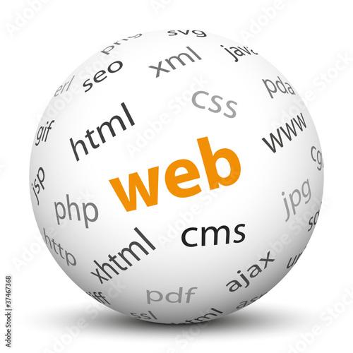 Web, Kugel, 3D, Keywörter, Begriffe, Internet, HTML, CSS, PHP