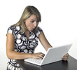 amazed blonde computing girl