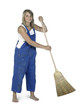 cute working girl with besom