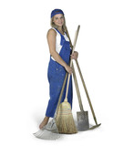cute girl dressed in workwear with lots of gardening tools poster
