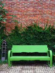 The green bench and Creeper Plant on red wall
