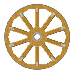 Vector image of a wooden wheel