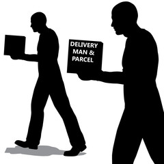 Vector delivery man carrying a parcel with copyspace. Silhouette