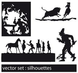 vector set: scherenschnitt, schattenriss, schattenspiel