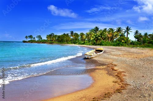 Jamaica. A national boat on sandy coast of a bay