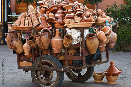 Pushcart with ceramic wares in the Marrakesh grand souk