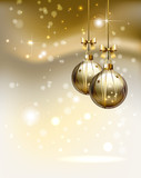 glimmered Christmas background with two evening balls poster