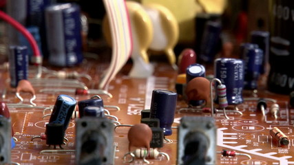 Electronics - circuit board - pan right