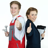 Fototapety Apprentices for car mechanic and office having thumps up