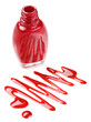 Bottle of red nail polish with enamel drop samples, isolated on