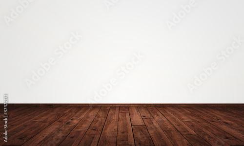 Freie Wand mit Parkett Boden