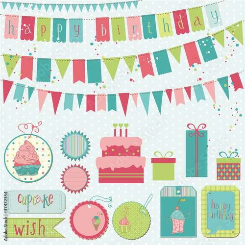 Retro Birthday Celebration Design Elements - for Scrapbook, Invi