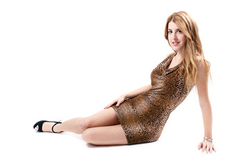 Sexy girl on leopard dress