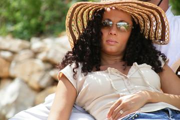 Young woman having a sunbath