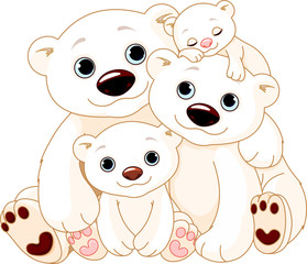 Big Polar bear family