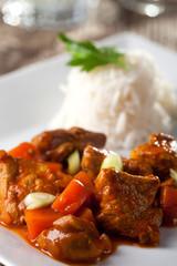 Hühnchencurry und Reis