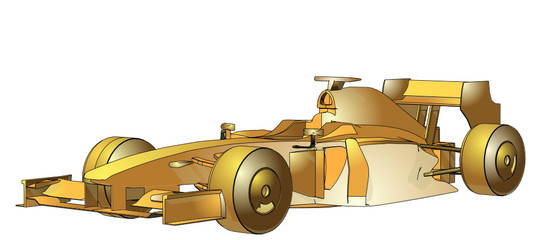 Golden Race Car Vector 07