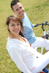 Couple out for a bike ride