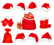 Big set of red santa hats and clothing. Vector