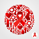 Circle shape with red AIDS icon set