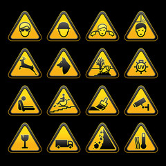 Warning symbols Safety signs set