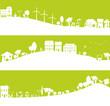 ville au développement durable, avec parents et enfants
