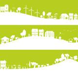Fototapety ville au développement durable, avec parents et enfants