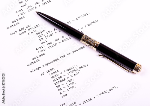 Part of the computer program and pen