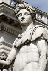 White marble statue to the Capitol,Rome,Italy