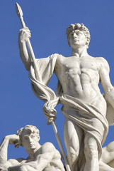 White marble statues to the Capitol,Rome,Italy