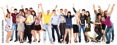 group students happy isolated