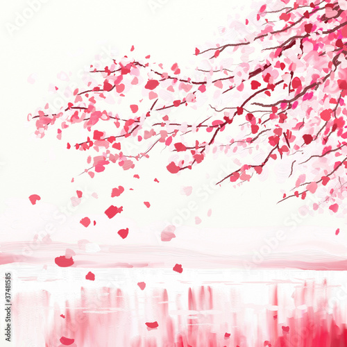 Wall mural Japanese cherry tree