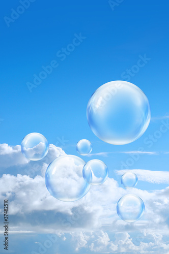 bubbles high in sky
