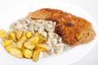Wiener Schnitzel mit Champis und Kartoffelspalten