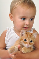 cute child with a cat