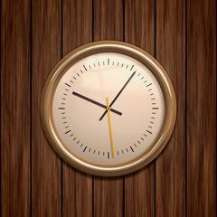 clock on wood
