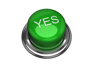 Yes button. Isolated on the white background