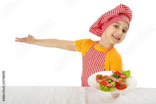 girl holding plate with ham