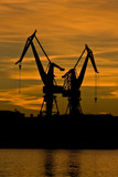 Two shipyard cranes