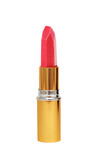 beautiful red lipstick in golden tube isolated on white