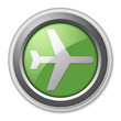 "Green 3D Style Button ""Airport / Airplane"""