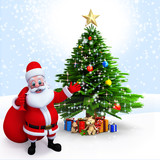 Santa Claus having a gift bag pointing towards Christmas tree.