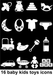 16 baby kids toys icons