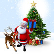 Santa with reindeer and gift box before christmas tree.