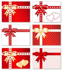 Gold and Valentine Red Hearts Presents