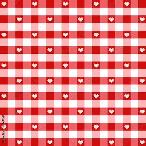 Hearts & Gingham Seamless Pattern