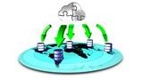 3d Illustration of database Cloud backup poster