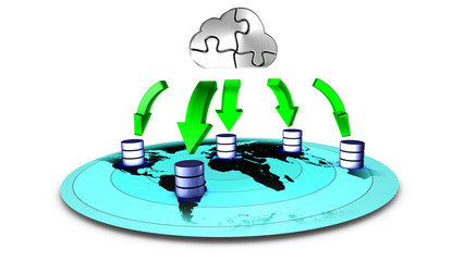 3d Illustration of database Cloud backup