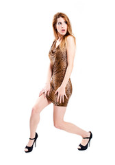 Sexy redhead with leopard dress