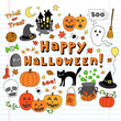 Happy Halloween Trick or Treat Notebook Doodles Vector Set